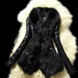 Designer Women Warm Fur Collar Coat Leather Thick